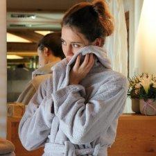 Mymami stone hooded bathrobe in organic cotton