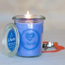 Blue Candle with message Ti Ascolto