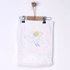 Hooded towel in organic cotton muslin