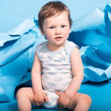 Baby Body Sleeveless with whales in organic cotton