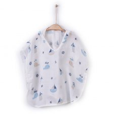 Organic cotton muslin poncho bathrobe Boats and Whales