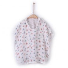 Organic cotton muslin poncho bathrobe Flowers and Butteflies