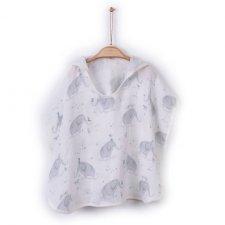 Organic cotton muslin poncho bathrobe Elephants