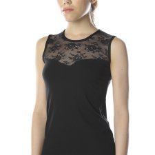 Sleeveless Under-Jacket top in modal and cotton with a lace
