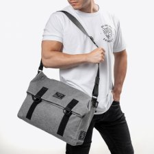 Augusto Messenger Bag in Organic Cotton and Coffee