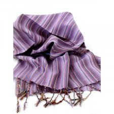 Handcrafted scarf with Lilac Stripes in pure Fairtrade cotton