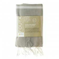 FOUTAS HAMMAM, WHITE AND TAUPE in organic cotton