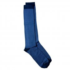 Long socks in bamboo for men with thin blue stripes