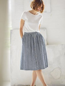 Catterina Striped Hemp Midi Skirt