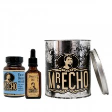 Mr.Echo Plus Box: tin with Soothing beard and shaving oil + Purifying emollient face, beard and hair scrub