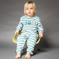 Baby Stone Blue stripes Pajama in Organic Cotton