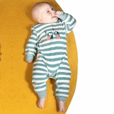 Baby stone blue stripes Bodysuit romper in organic cotton