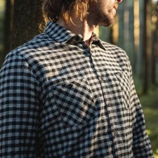 Man small checks Shirt in Organic Cotton