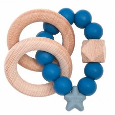 Teether with rattle in Natural Wood and Food Grade Silicone