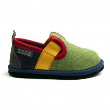 Muvy Green-Blue children's slippers in wool felt