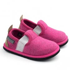 Muvy Fuxia slippers for girls in wool felt