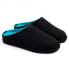 Two-tone anthracite-blue fluo Easy slipper in wool felt