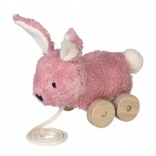 Pink rabbit pull toy in organic cotton