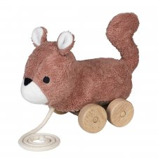 Squirrel pull toy in organic cotton