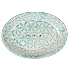 LOU soap dish in hand painted glazed ceramic