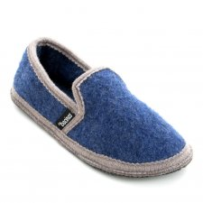 Closed slippers in pure boiled wool Bicolor Blue Gray