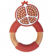 Superfood Pomegranate Teether in Wood and Food-Grade Silicone