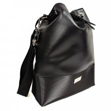 Black Bucket bag in vegetable faux-leather and recycled pvc