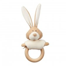 Bunny rattle in organic cotton with wooden ring