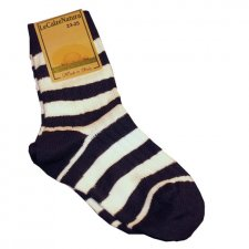 Ecru Blue Striped Baby Short Socks in organic cotton
