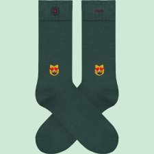 Socks with Cat in love embroidery in organic cotton