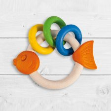 Antibacterial self-sanitizing fish ring rattle