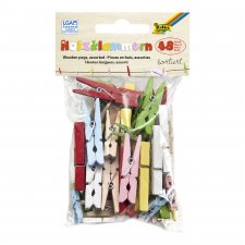 48pcs colored wooden pegs