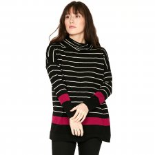 Emery Organic Cotton & Wool Striped Roll Neck Jumper