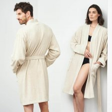 Bath robe men & women in linen and organic cotton
