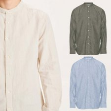 Stand collora Long-sleeved men's shirt in organic cotton and organic linen
