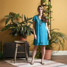 Plain Double Layer Tunic Dress in Sustainable viscose