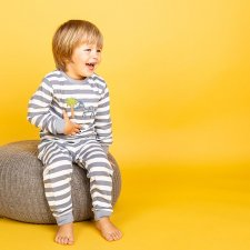 Childrens Pyjama Stripe with zebra in organic cotton