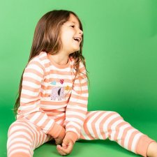 Childrens Pyjama Stripe with elephant in organic cotton