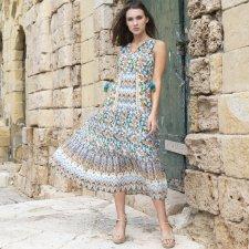 Long LANZAROTE dress in natural viscose crêpe