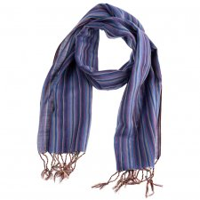 Handcrafted scarf with Purple Stripes in pure Fairtrade cotton