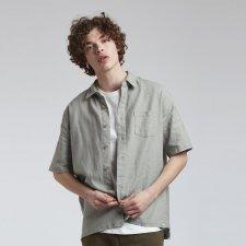 DINGWALLS man short sleeve shirt in Organic Linen and Organic Cotton
