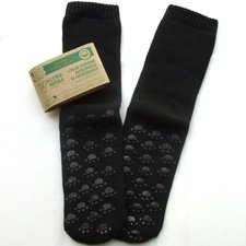 Non-slip terry black socks in organic cotton