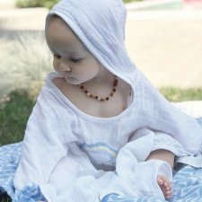 Organic cotton muslin poncho bathrobe Cloud