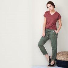 Organic linen woman trousers khaki