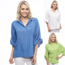 Orientique shirt in linen, cotton and natural viscose