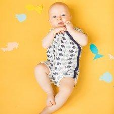 Pagliaccetto Kimono Pesci Blu cotone biologico