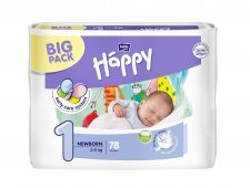 Pannolini Happy BellaBaby - 1 Newborn 2/5kg 78 pezzi