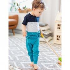 Pantalone Baby Petrolio con polsini in cotone biologico