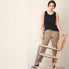 Pantalone donna in lino e cotone biologico Nocciola