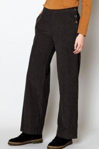 Pantaloni a gamba dritta da donna in velluto di puro cotone
